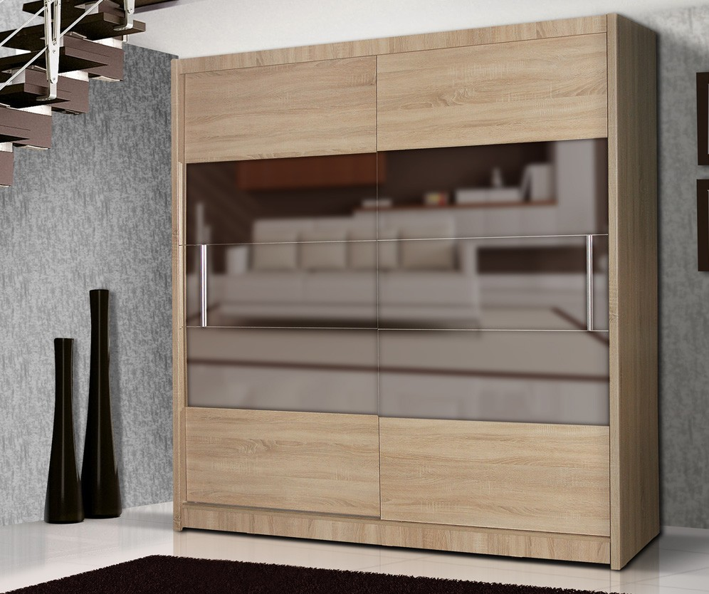 QUALIA 6 - Oak wardrobe with mirror