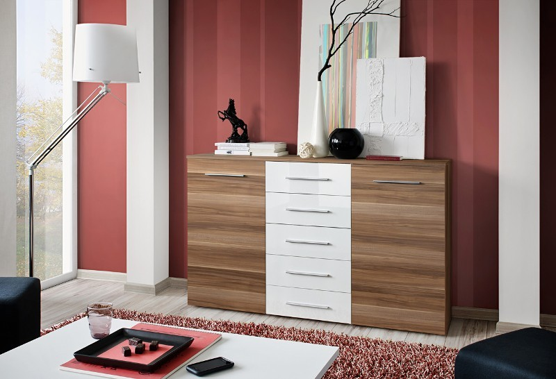 SB FOX 1 - Plum & white 5 drawer dresser