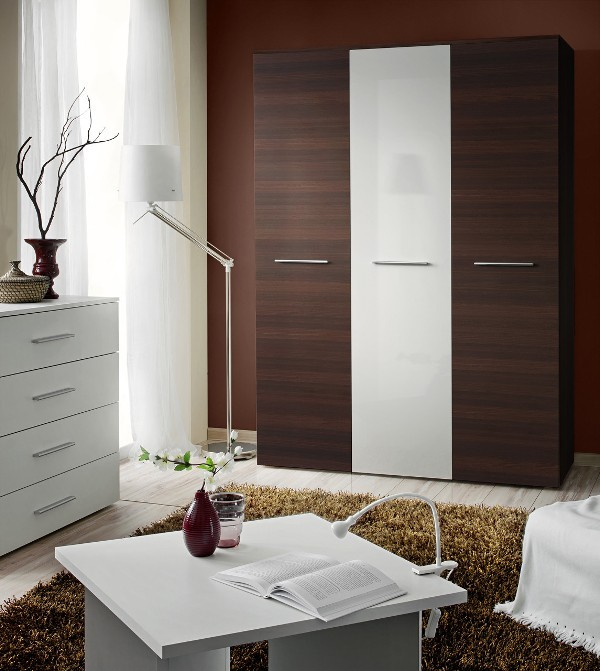 Wardrobe 135b - wenge and white wardrobe
