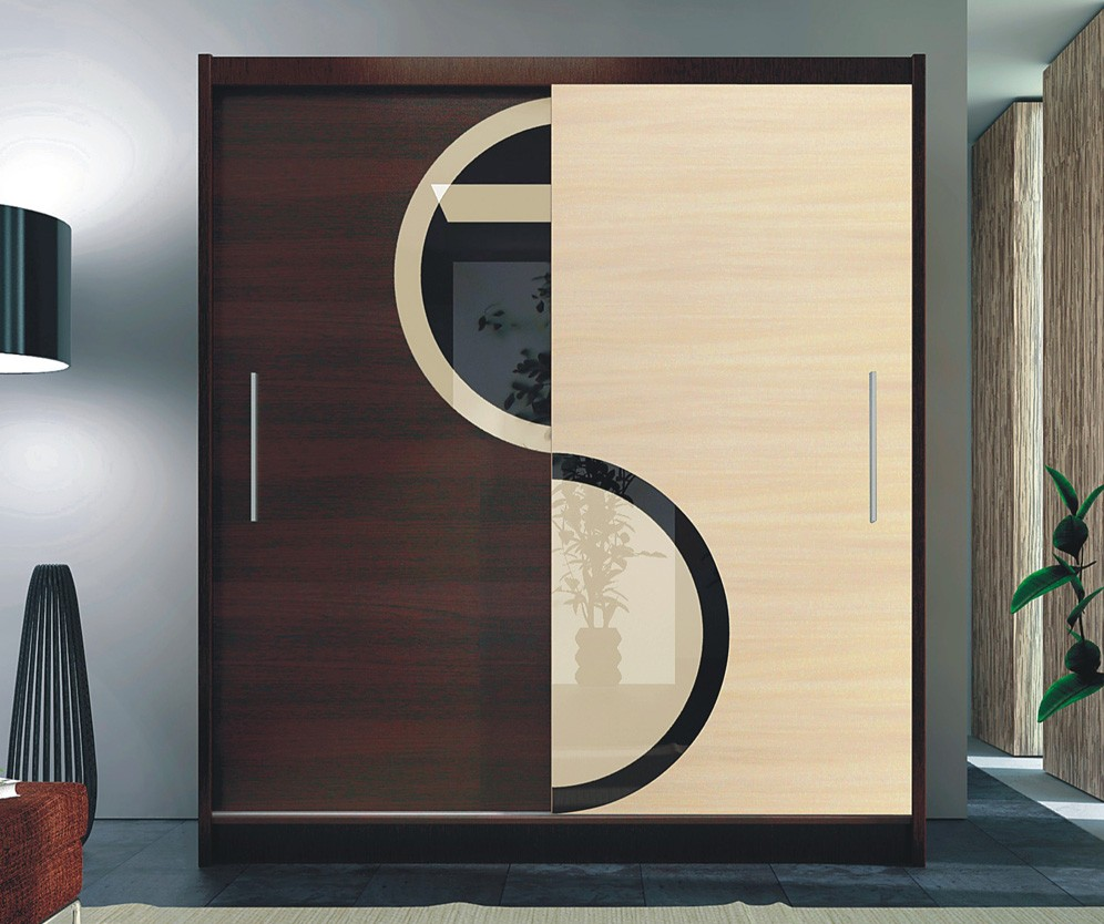 LORIENT 1 - oak and wenge sliding door wardrobe
