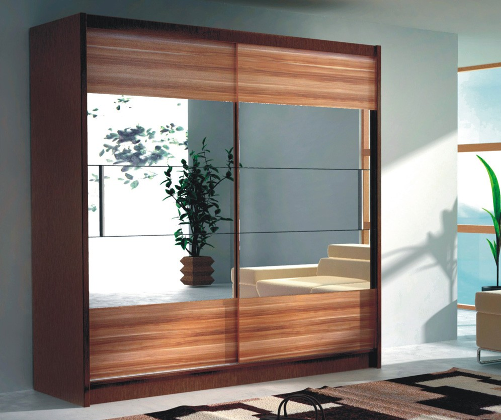 LORIENT 6 - Wenge and plum modern wardrobe