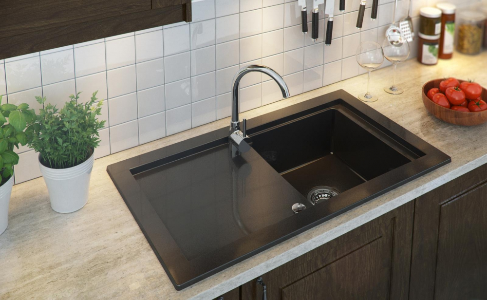 PN-Prako black granite kitchen sink