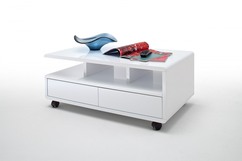 Chris - white coffee table with drawers