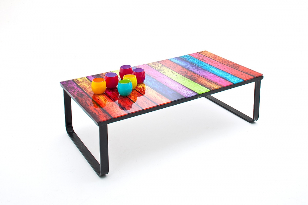 Rainbow - small glass coffee table