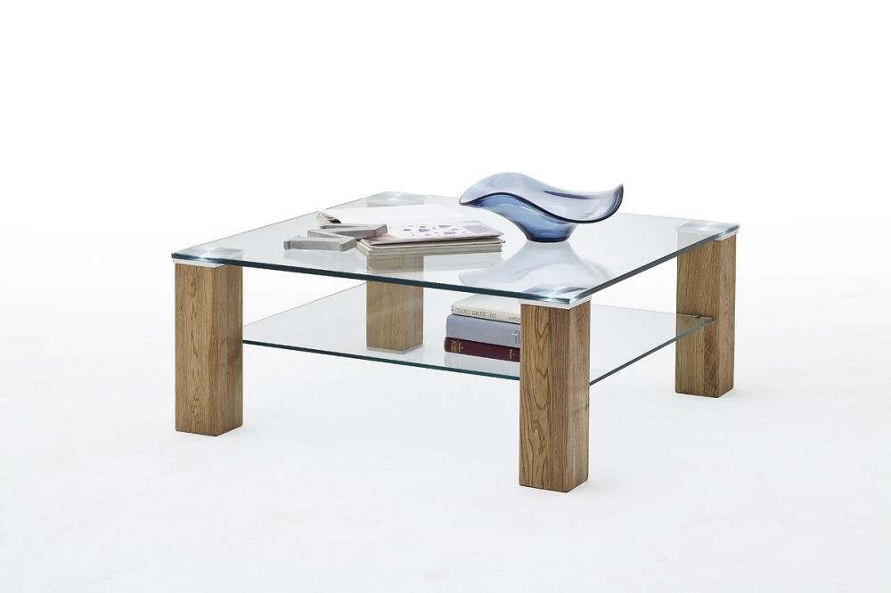 Alma 1 - square glass coffee table
