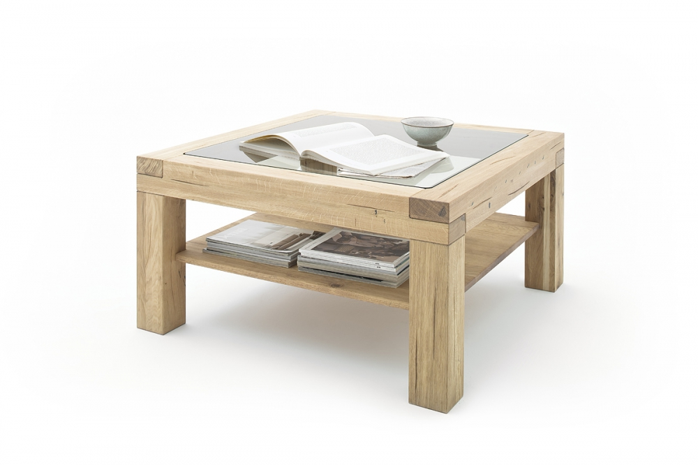 Alec - oak glass coffee table