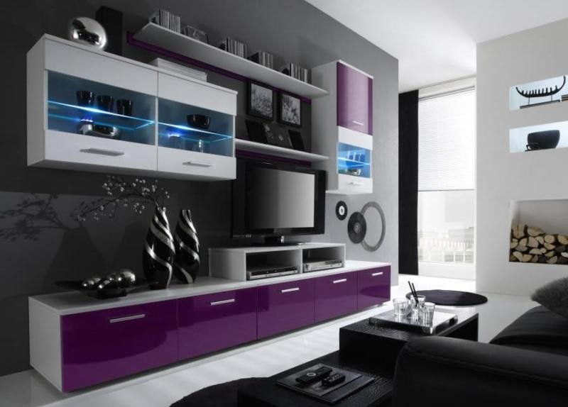 Paris 7 - fiolet high gloss wall unit