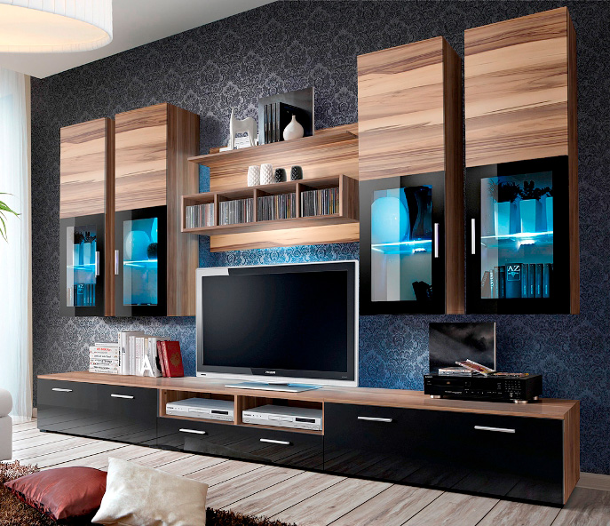 Presto 2 - Baltimore matt and black gloss TV Wall unit.