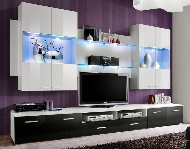 Space 2 - white and black wall unit