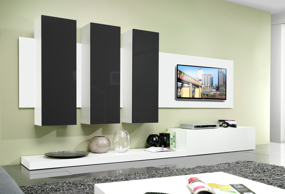 Avanti BLACK - black and white entertainment center
