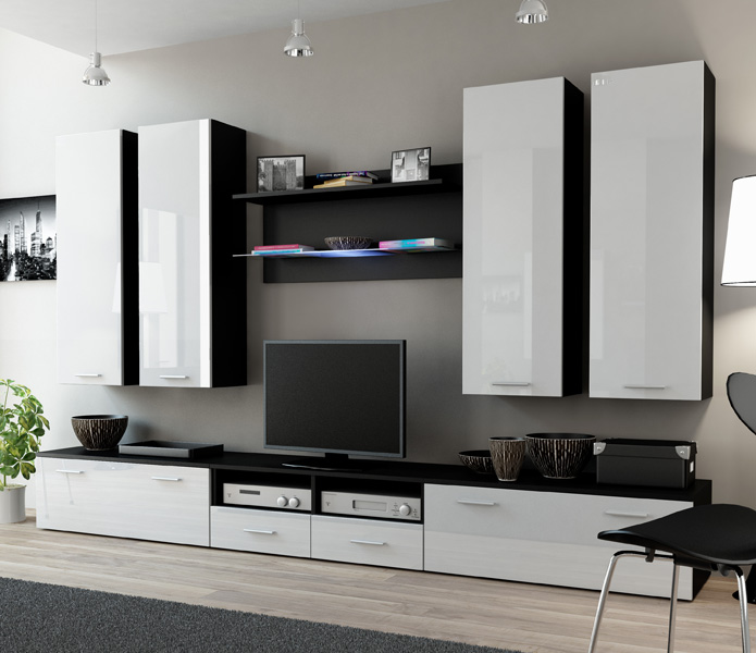 Indigo 3 - black and white entertainment center cabinet