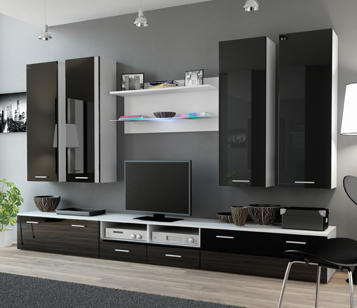 Indigo 2 - Black and white modern wall unit