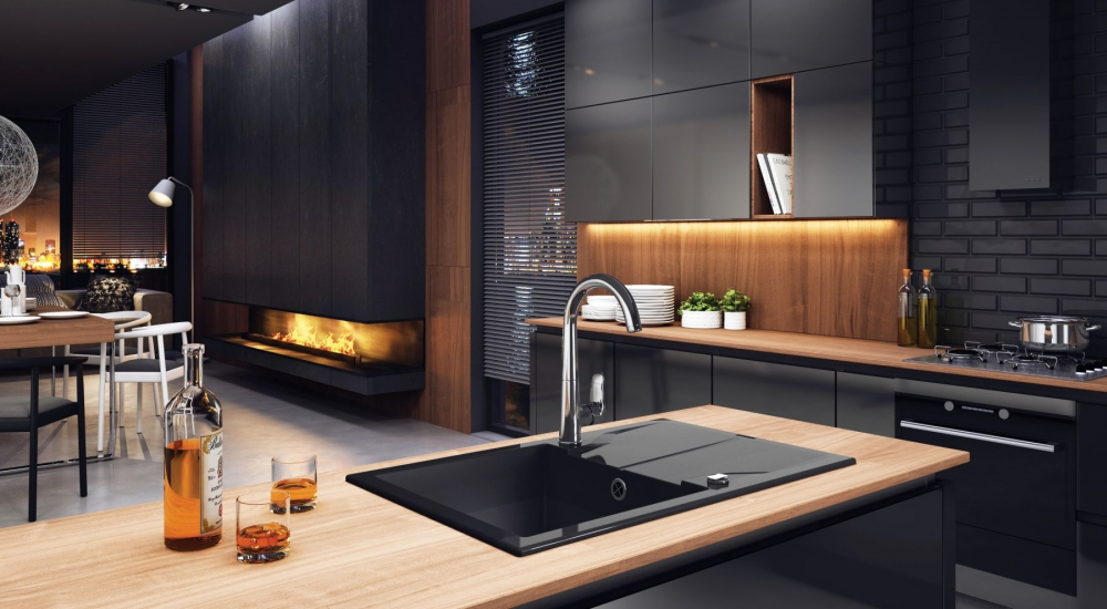DE-Adant 2 black kitchen sink