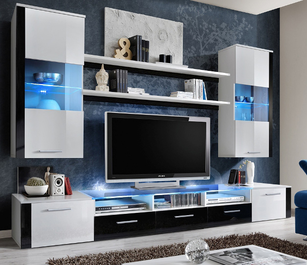 Lumia 4 - High gloss white / black wall Unit