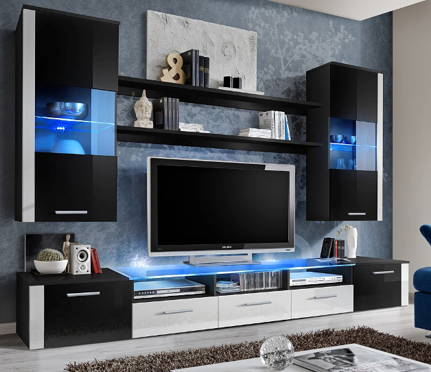 Lumia 2 - Black / white high gloss entertainment center