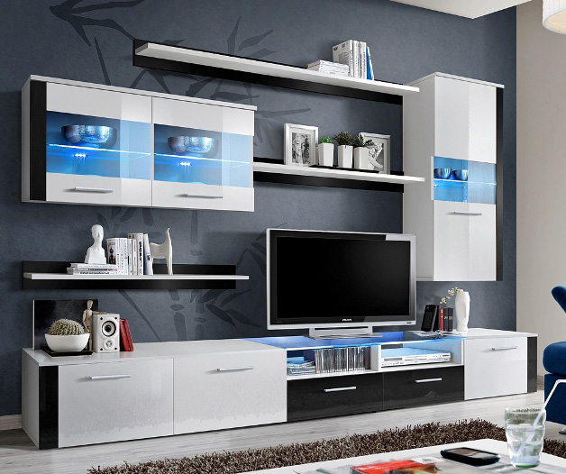 Paris Fresh 3 - black and white modern wall unit