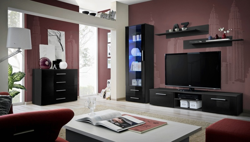 Santi 6 - black wall entertainment center
