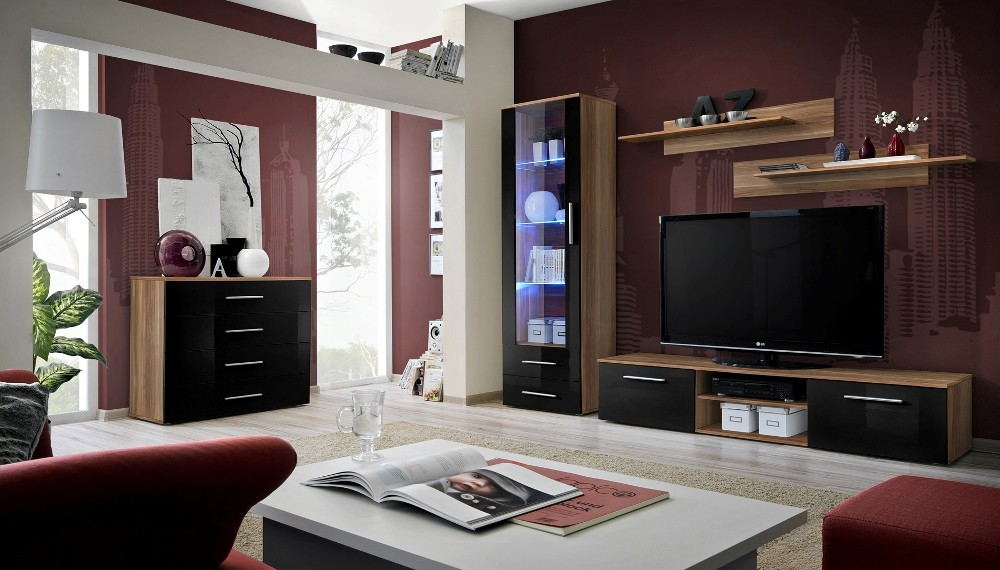 Santi 4 - balck and walnut entertainment center cabinet