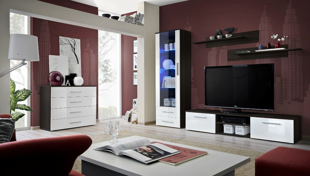 Santi 5 - White and wenge wall unit