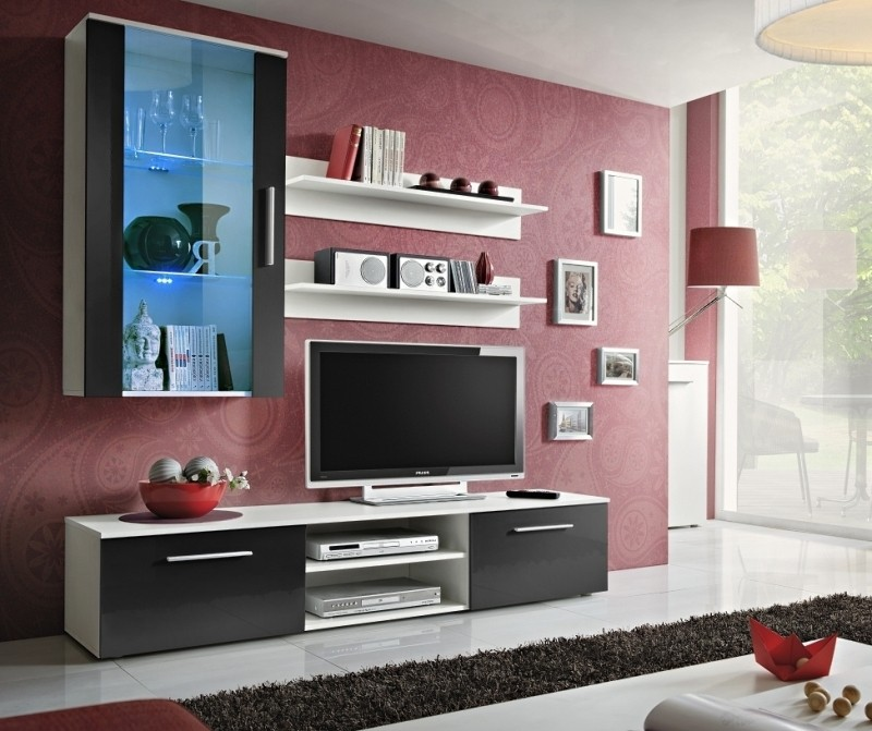Carlisle 4 - black high gloss fronts and white wall unit