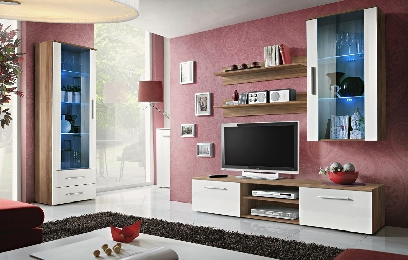 Bellis 4 - white high gloss fronts and walnut wall unit