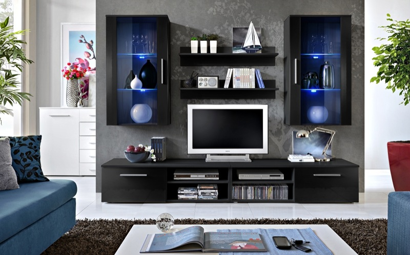 Oregon 7 - black wall entertainment center