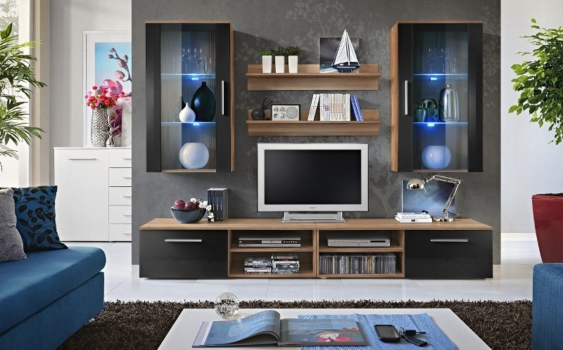 Oregon 4 - Plum media wall unit