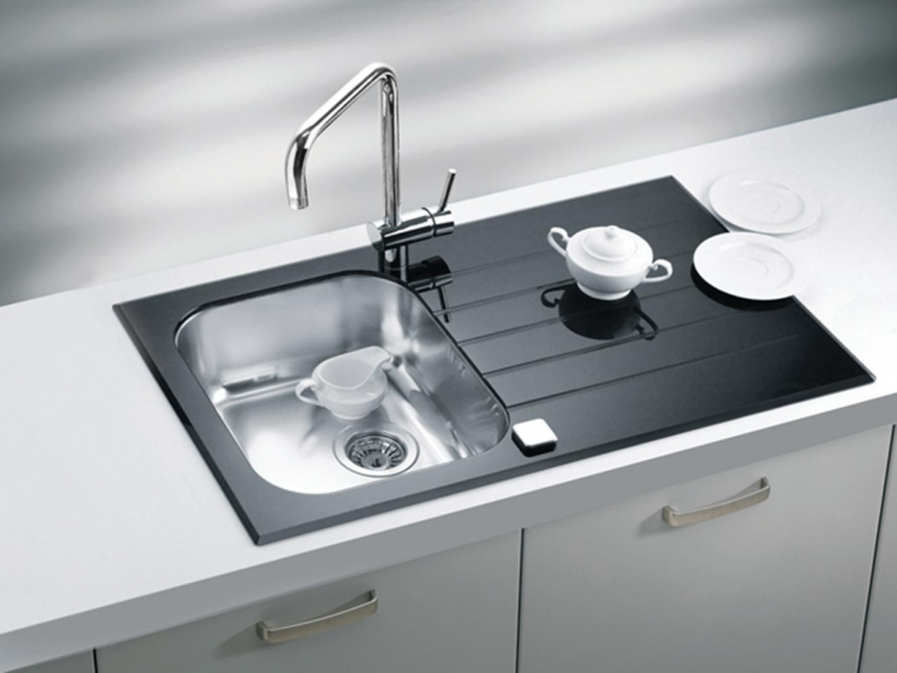 AS-Glasse 10  1-bowl glass kitchen sink with drainer