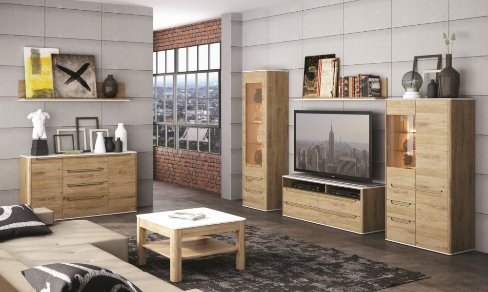 Gobi 1 - natural wood contemporary entertainment center