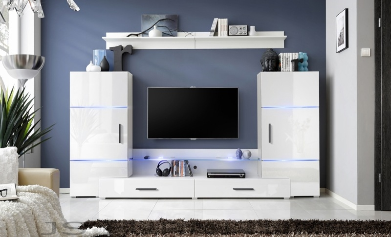 Impres 2 - white wall unit entertainment center
