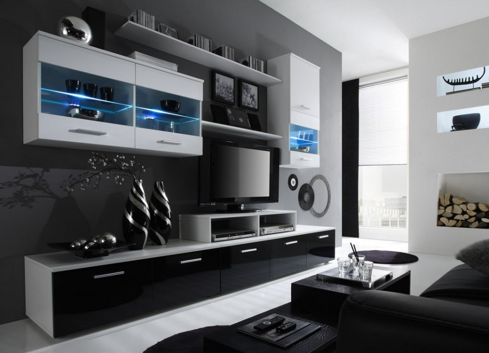 Paris 3 - black and white wall unit