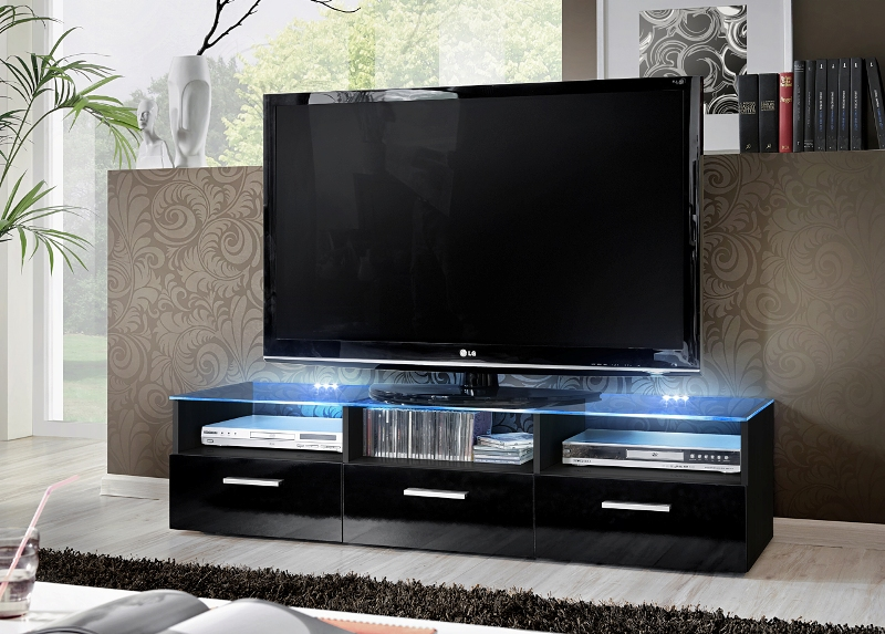 Lyon 4 - black modern entertainment center