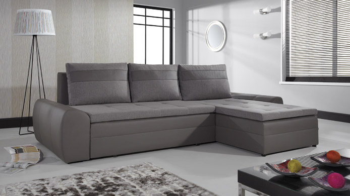 FAN - Fabric and Faux Leather Corner Sofa Bed