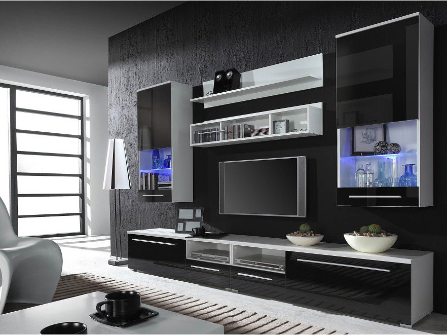 Kansas 4 - Black high gloss fronts entertainment center