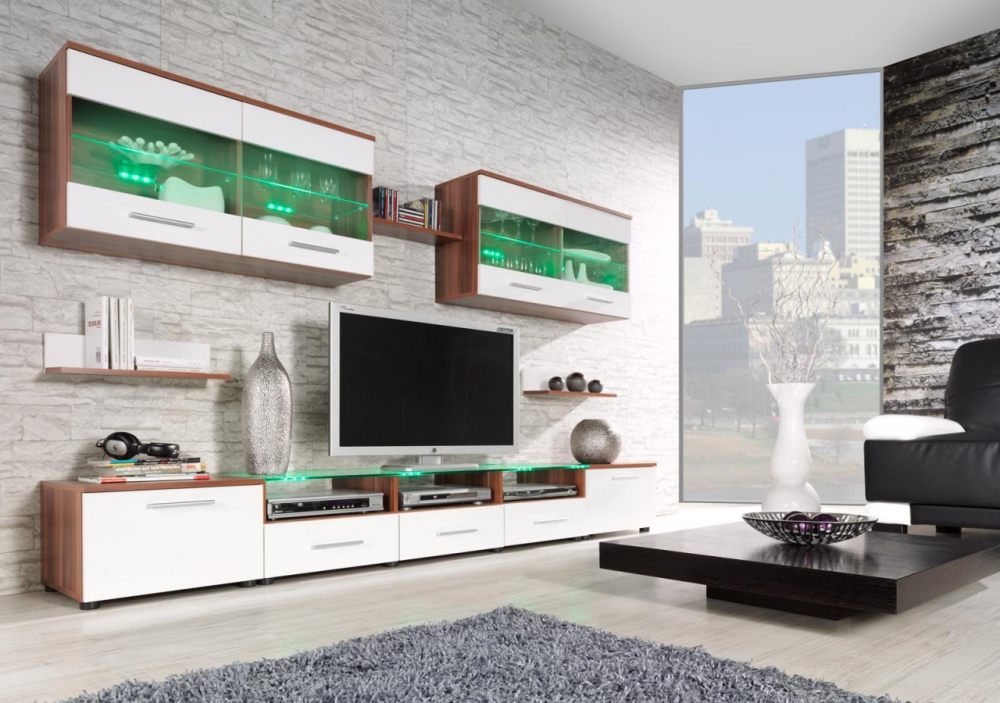 Austin 2 0 -  plum and white contemporary wall unit