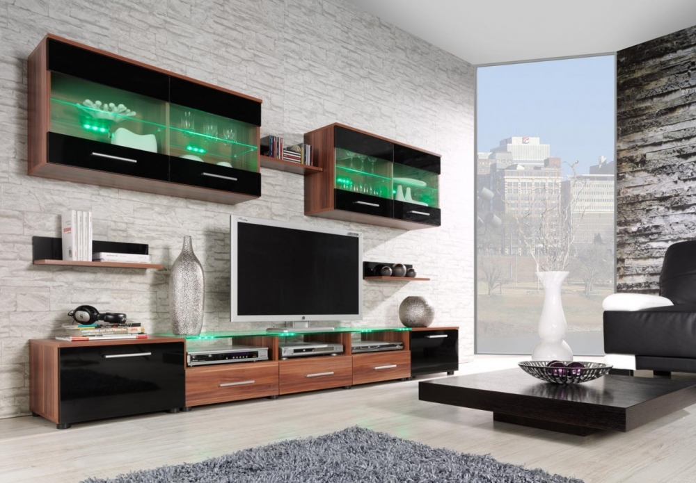 Austin 4 - black and plum wall units for tv