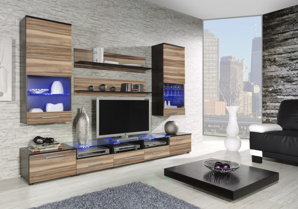 Chicago 4 - wenge and nut living room wall unit
