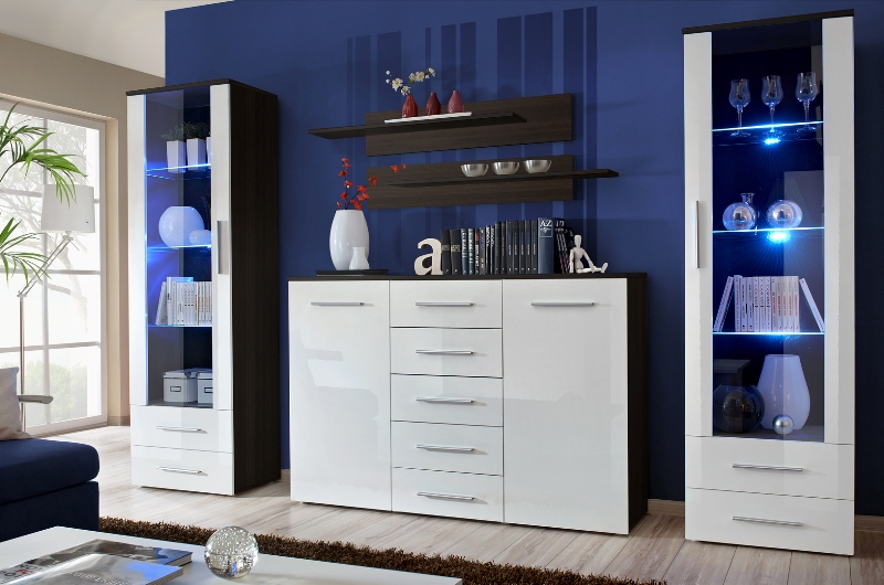 Monaco 5 - white and wenge wall unit