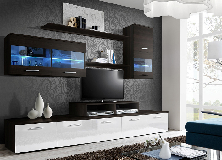 Paris 2 - black and white comfortable entertainment center