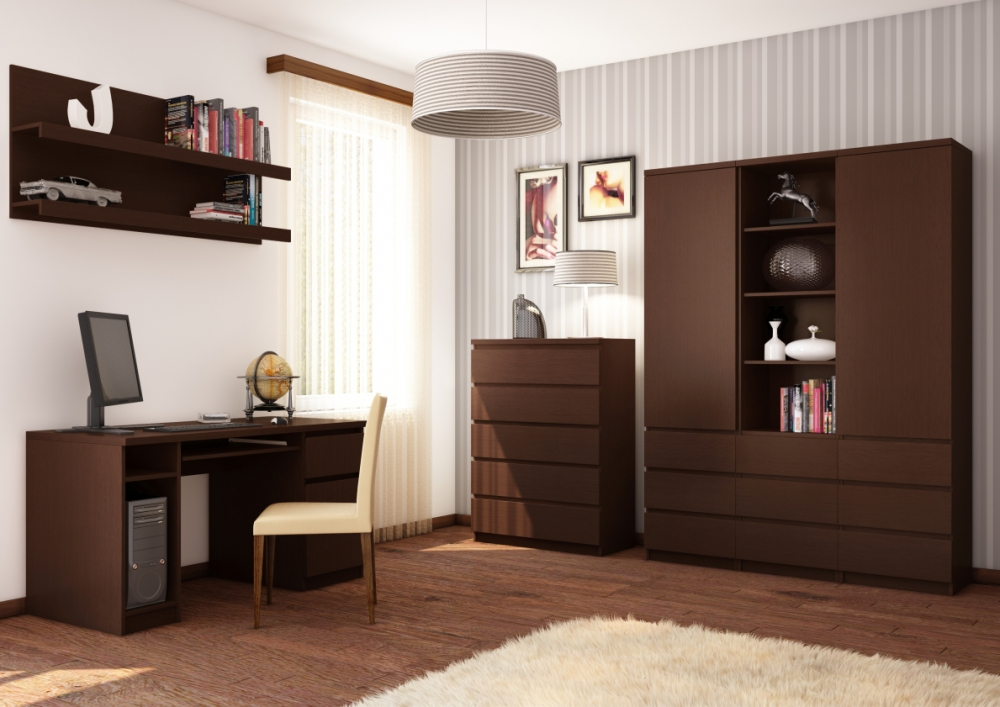 Pello 3 - dark brown contemporary entertainment center