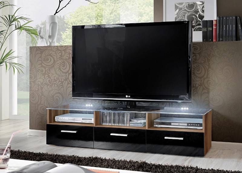 Lyon 3 - Plum body, black high gloss fronts tv media stand