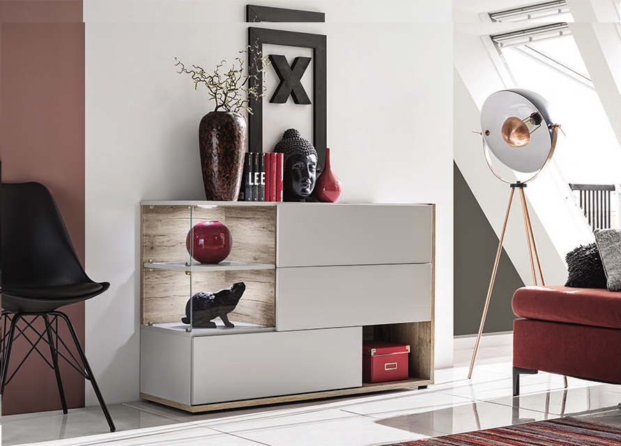 SB Simi - pearl gray modern chest of drawers