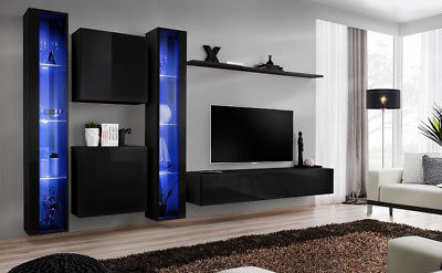 Shift 16 tv entertainment stand for 50 inch tv / black modern entertainment tv