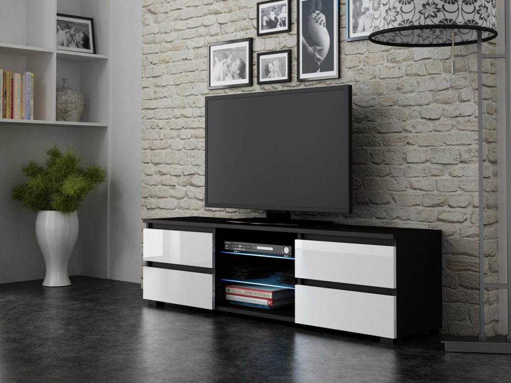 4Drawers Black - tv media stand