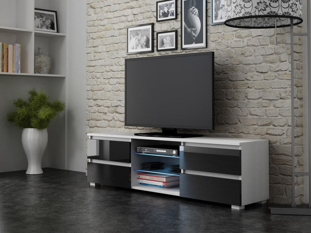 4Drawers White - small tv stand