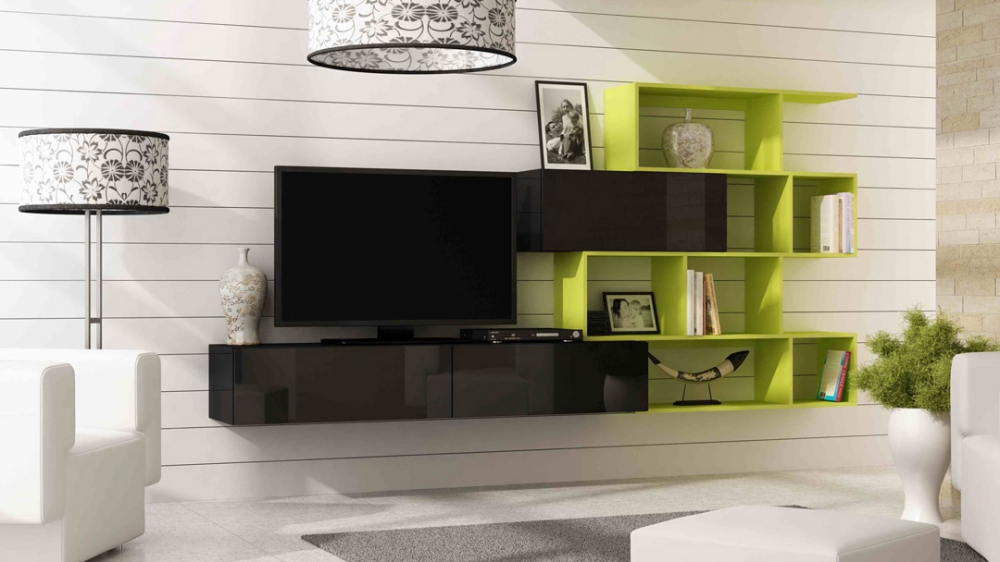 Vero style 5 - black and green entertainment center