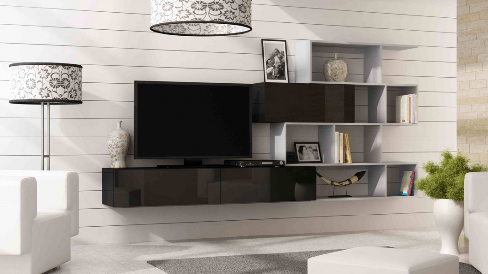 Vero style 8 - black modern entertainment center