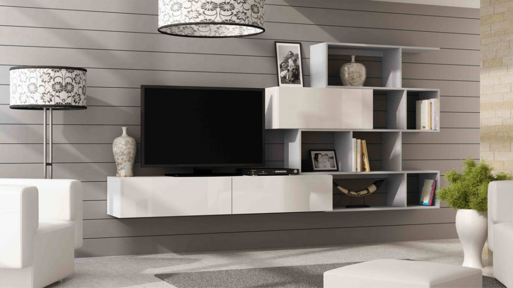 Vero style 7 - white modern entertainment center