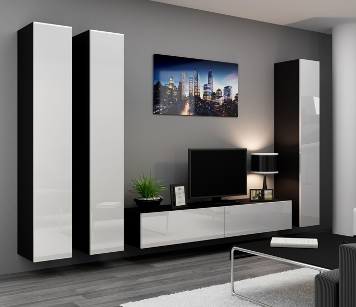 Seattle 5 - black and white tv entertainment stand