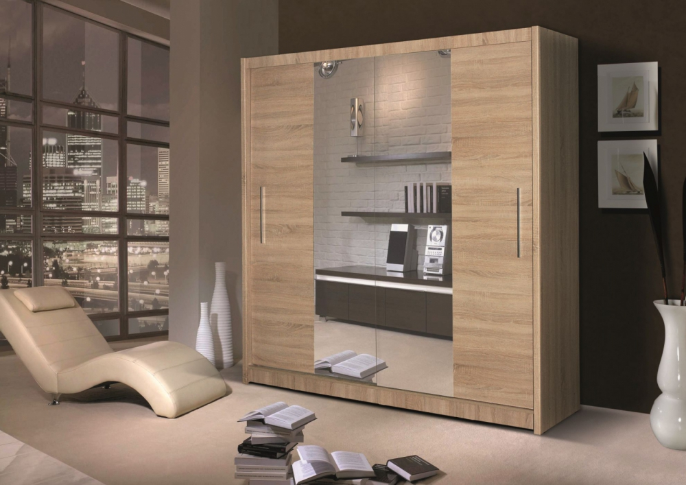 Qualia - Oak wardrobe with mirror